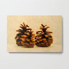 3 Pine Cones - v.18 Metal Print