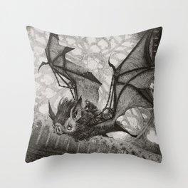 The Bat Rider  Throw Pillow