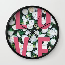 LOVE White Rose Floral Poster Wall Clock