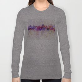 Agra skyline in watercolor background Long Sleeve T-shirt