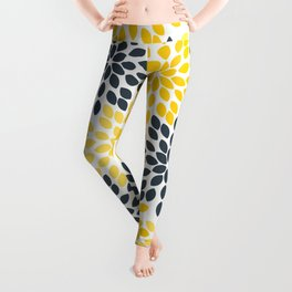 Yellow and Gray Charcoal Modern Floral Leggings