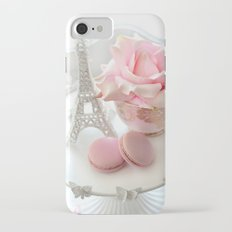 Shabby Chic Paris Pink Macarons Eiffel Tower Roses Romantic Prints and Home Decor Slim Case iPhone 7