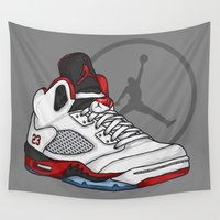 sneakers Wall Tapestries featuring Jordan 5 (Fire Reds) by Pancho the Macho