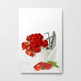Fresh red tulips in white watering can and garden tools Metal Print