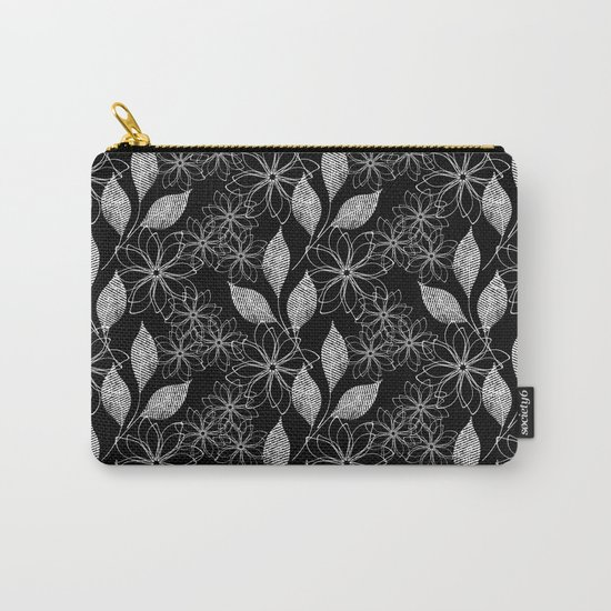 Abstract floral black and white pattern. Carry-All Pouch