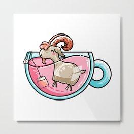 Kawaii Cute Goat-Tea Pun Metal Print