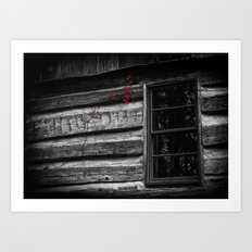 Red Cling on Gray Art Print