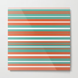 Summer Stripes Color Block Pattern in Teal, White, and Orange Metal Print