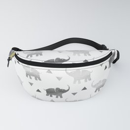 Elephants and Triangles - Silver Fanny Pack