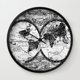 world map black and white Wall Clock