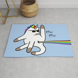 Unicorn Cat Rainbow Butt Laser Rug
