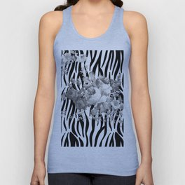 Vintage elegant black white floral zebra animal print collage Unisex Tank Top