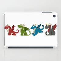 pee wee iPad Cases featuring Wee Dragons by firestarterdesign
