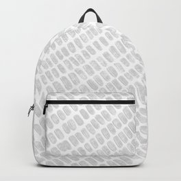 Gray & White Pencil Charcoal Lined Spotted Texture Diagonal Minimal Minimalism Design Pattern Backpack