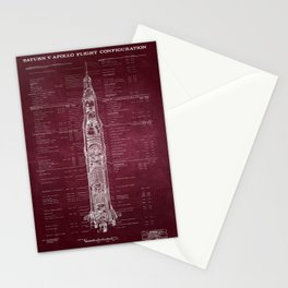 Apollo 11 Saturn V Blueprint in High Resolution Stationery Cards