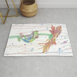 """Watercolor Painting of Picture """"Red Eyed Frog"""" Rug"""