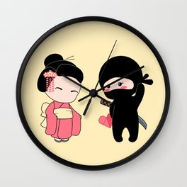 Valentine Ninja and Geisha Wall Clock
