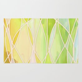 Lemon & Lime Love - abstract painting in yellow & green Rug