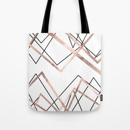 Rose Gold White Linear Triangle Abstract Pattern Tote Bag
