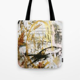 Armor [9]:a bright, interesting abstract piece in gold, pink, black and white Tote Bag
