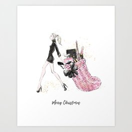 Merry Christmas Fashion Illustration - Blonde Hair Option Art Print