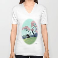 asian V-neck T-shirts featuring Asian bear by David Pavon