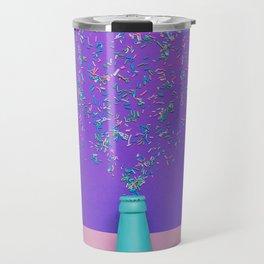champagne bottle with confetti glittering splashes Travel Mug