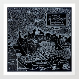 Map of Bohemia (black & white) Art Print