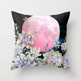 succulent full moon 3 Throw Pillow
