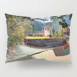 Nature, a river and colorful reflections | waterscape photography Pillow Sham