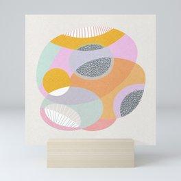Sea anemone bright abstract mid century retro print pattern Mini Art Print