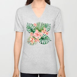 Tropical Jungle Hibiscus Flowers - Floral Unisex V-Neck