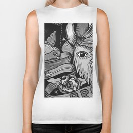 Yak and Bird Graffiti (Black and White) Biker Tank