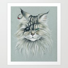 Pirate Maine Coon Tabby Cat Art Print