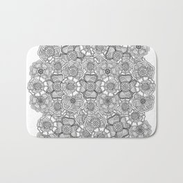 Black flowers on the white background Bath Mat