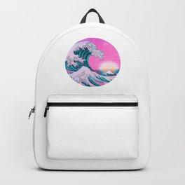 Vaporwave Great Wave Aesthetic Sunset Backpack