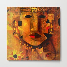 Indigenous Inca Tribal Sapa Inca, Son of the Sun portrait painting by Ortega Maila Metal Print