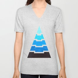 Cerulean Blue Aztec Pyramid Triangle Egypt Minimalist MidCentury Modern Watercolor Geometric Pattern Unisex V-Neck