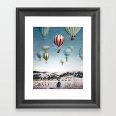 Ballooning over everywhere: Winter Framed Art Print