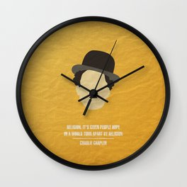 """Charlie Chaplin - """"Religion. It's given people hope in a world torn apart by religion"""" Wall Clock"""