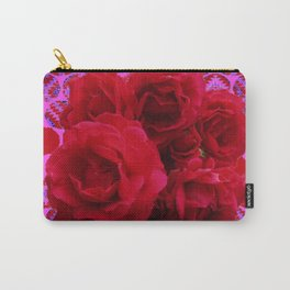 CLUSTER OF RED ROSES ON  RED-VIOLET ABSTRACT Carry-All Pouch