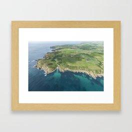 Aerial views over Porthgwarra Beach towards Lands End Cornwall. Framed Art Print