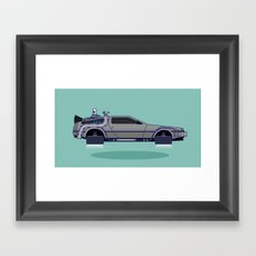 Flying Delorean Time Machine - Back to the future series Framed Art Print
