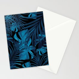 Tropical Jungle Night Leaves Pattern #2 #tropical #decor #art #society6 Stationery Cards