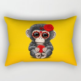 Red and Yellow Day of the Dead Sugar Skull Baby Chimp Rectangular Pillow
