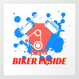 "A Nice Inside Theme Tee For You Who Loves Being Inside Saying ""Biker Inside"" T-shirt Design Bicycle Art Print"