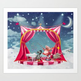 Illustration of cute circus  animals on stage in sky - illustration art  Art Print