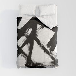 Brushstroke 5 - a simple black and white ink design Comforters