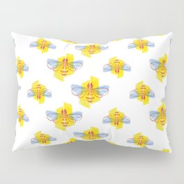 Be Safe - Save Bees linocut Pillow Sham