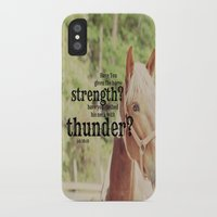 scripture iPhone & iPod Cases featuring Job 39: 19 Horse Scripture by KimberosePhotography